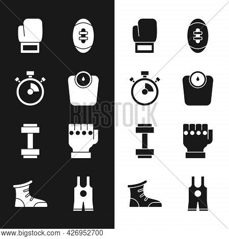 Set Bathroom Scales, Stopwatch, Boxing Glove, American Football Ball, Dumbbell, Mma, Wrestling Singl