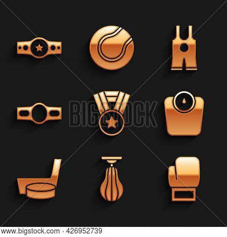 Set Medal, Punching Bag, Boxing Glove, Bathroom Scales, Ice Hockey Stick And Puck, Belt, Wrestling S