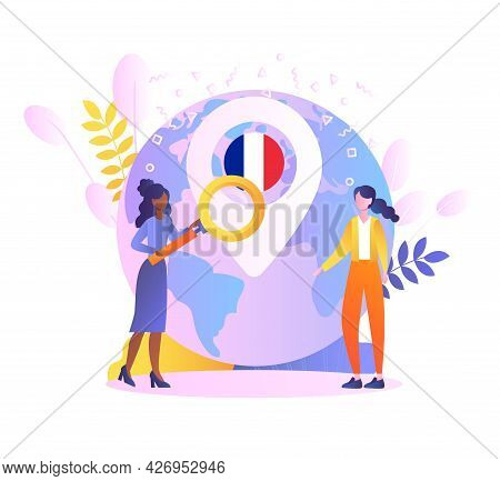 Immigration To France Concept. Two Girls Are Standing Near A Large Globe With A French Flag. Learnin