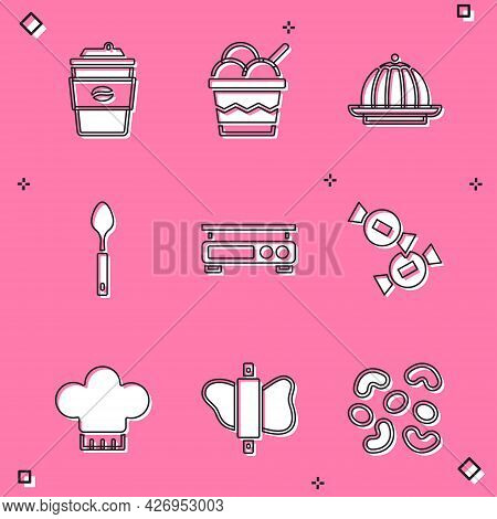 Set Coffee Cup To Go, Ice Cream In Bowl, Pudding Custard, Spoon, Electronic Scales, Candy, Chef Hat