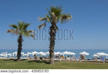Golden Sands, Bulgaria - June 02, 2015: Beach On Golden Sands Resort, Golden Sands, Bulgaria