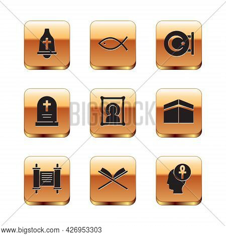 Set Church Bell, Decree, Paper, Parchment, Scroll, Holy Book Of Koran, Christian Icon, Tombstone Wit