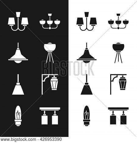 Set Floor Lamp, Chandelier, Vintage Street Light, Led Track Lights Lamps And Light Bulb Icon. Vector
