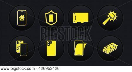 Set Mobile With Broken Screen, Hammer, Smartphone, Glass Protector, Micro Sd Memory Card, Shield, An
