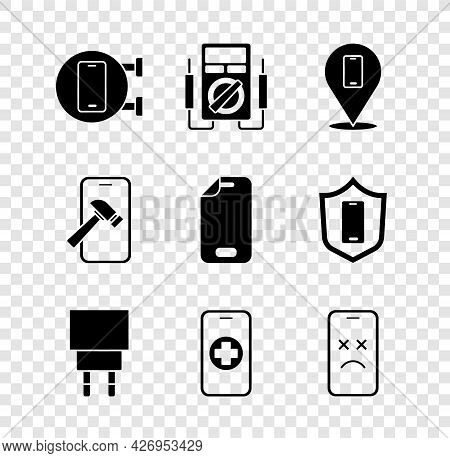 Set Phone Repair Service, Multimeter, Charger, Dead Mobile, Mobile With Broken Screen And Glass Prot