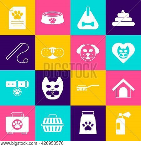Set Pet Shampoo, Dog House, Heart With Cat, Collar, Cat Nose, Toy, Clinical Record Pet And Icon. Vec