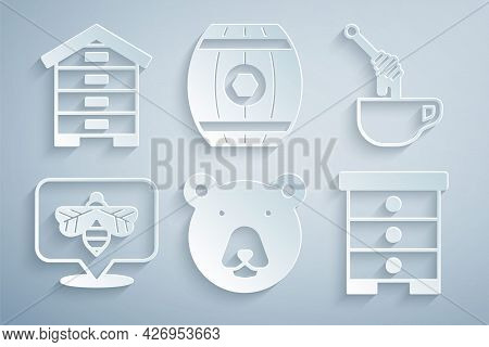 Set Bear Head, Honey Dipper Stick With Honey, Bee, Hive For Bees, Wooden Barrel And Icon. Vector