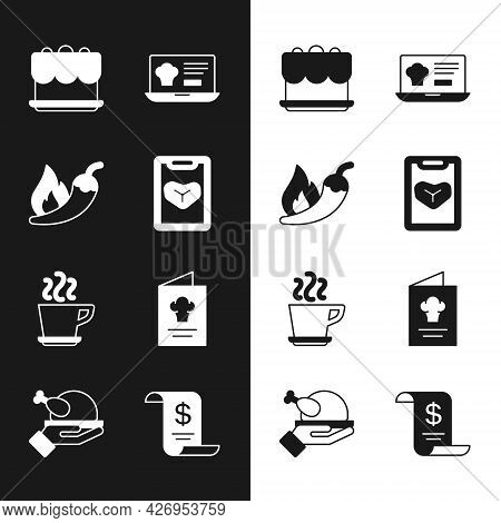 Set Restaurant Cafe Menu, Hot Chili Pepper Pod, Cake, Online Ordering And Delivery, Coffee Cup, Cook