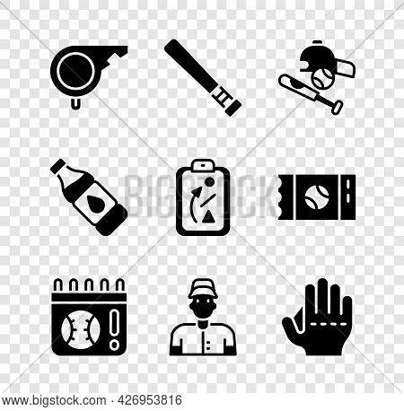 Set Whistle, Baseball Bat, With Ball, Hat, Calendar Baseball Game, Player, Glove, Bottle Of Water An