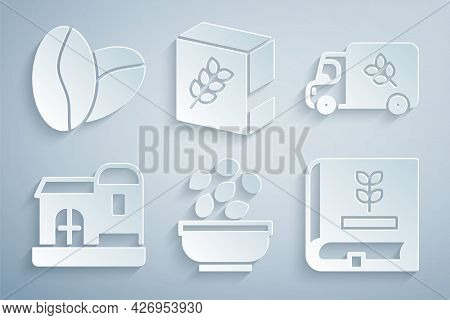 Set Seeds In Bowl, Flour Truck, Farm House, Book About Seeds, Pack And Coffee Beans Icon. Vector