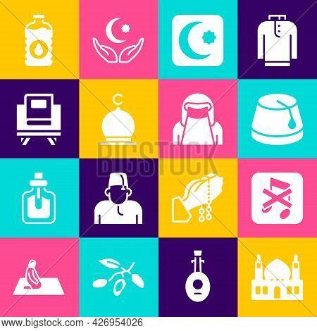Set Muslim Mosque, Speaker Mute, Turkish Hat, Star And Crescent, Holy Book Of Koran, Bottle Water An