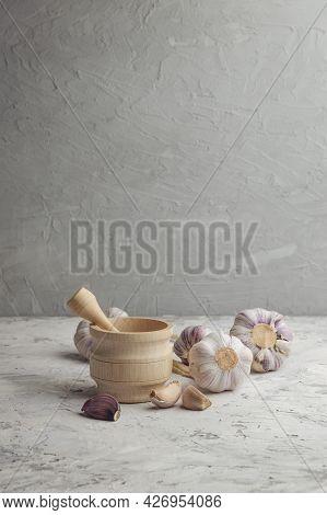 Organic Garlic. Fresh Garlic Cloves And Garlic Bulb On  Background With Pile Of Garlic Or Spice. Sel