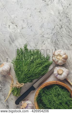 Fresh Herbs And Kitchen Utensils. Herbs And Spices For Your Inspiration. Dill, Parsley, Garlic, Cila