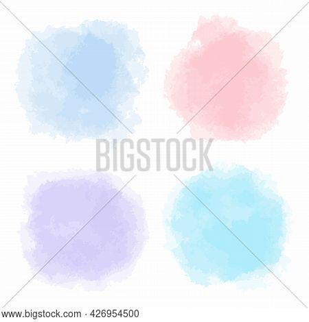 Hand Drawn Abstract Pastel Colors Watercolor Stains On White Background. Blue, Turquoise, Pink, Lila