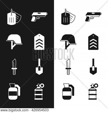 Set Chevron, Military Helmet, Dog Tag, Pistol Or Gun, Knife, Shovel, Hand Smoke Grenade And Icon. Ve