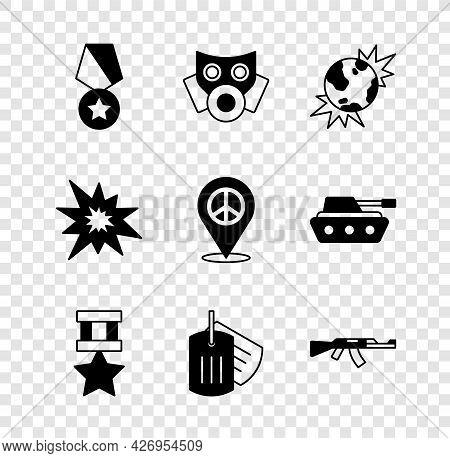 Set Military Reward Medal, Gas Mask, Bomb Explosive Planet Earth, Dog Tag, Submachine Gun, Explosion