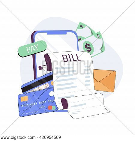 Mobile Payment Concept. Phone Laying Down On Bill Heap. Payment Of Utility, Bank, Restaurant And Oth