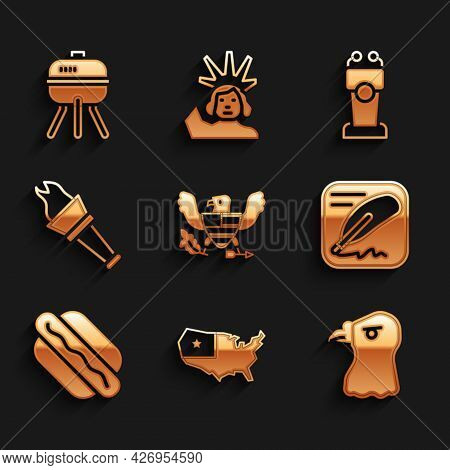 Set Eagle, Usa Map, Head, Declaration Of Independence, Hotdog Sandwich, Torch Flame, Stage Stand Tri