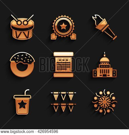 Set Declaration Of Independence, Carnival Garland With Flags, Firework, White House, Paper Glass Str