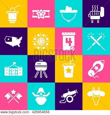 Set Sausage On The Fork, Firework, Sparkler Firework, Western Cowboy Hat, Usa Map, Beer Pong Game An