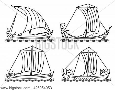 Set Of Simple Vector Images Of Single-masted Ships Of The Early Middle Ages Drawn In Art Line Style.