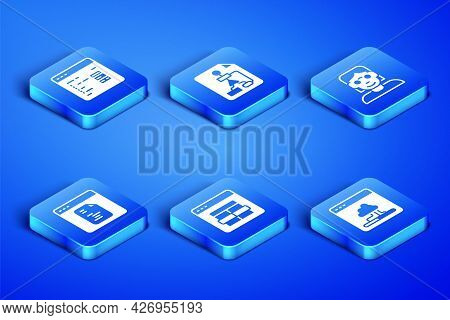 Set Cloud Technology Data Transfer, Software, Mysql Code, Flowchart And Hacker Or Coder Icon. Vector
