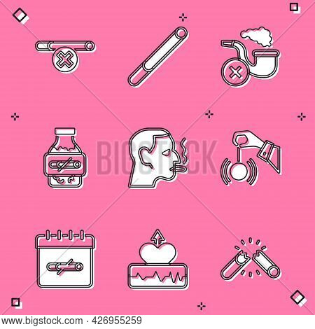 Set No Smoking, Cigarette, Smoking Pipe With Smoke, Nicotine Gum Blister Pack, Man Cigarette, Hypnos