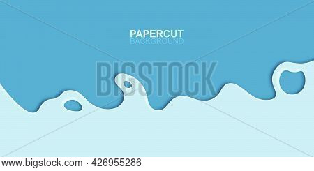 Abstract Modern Blue Papercut Background. Vector Illustration.