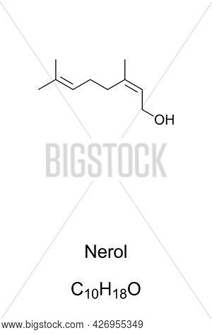 Nerol, Chemical Formula And Skeletal Structure. Organic Compound, A Monoterpenoid Alcohol, Found In