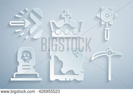 Set Pirate Treasure Map, Medieval Chained Mace Ball, Grave With Tombstone, Pickaxe, King Crown And M