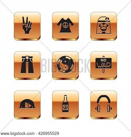 Set Peace Symbol, Tourist Tent, Beer Bottle, Yin Yang, Jeans Wide, Hippie Girl, Headphones And Dress