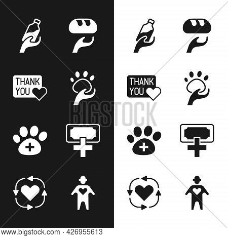 Set Animal Volunteer, Thank You With Heart, Donation Water, Food, Veterinary Clinic, And Charity, Vo