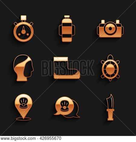 Set Boots, Scallop Sea Shell, Diving Knife, Turtle, Hood, Photo Camera For Diver And Stopwatch Icon.