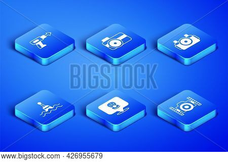 Set Photo Camera For Diver, Fishing Harpoon, Scallop Sea Shell, Floating Buoy, And Icon. Vector