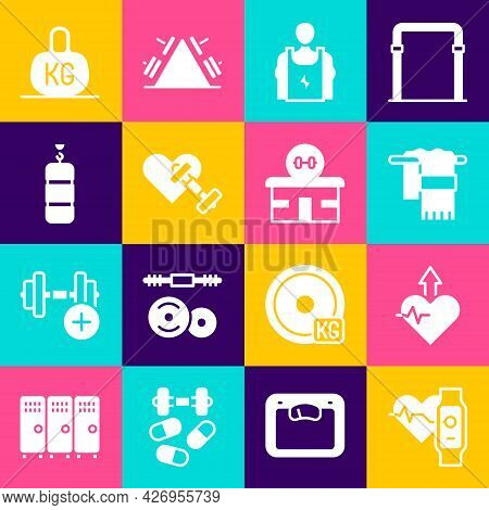 Set Smart Watch With Heart, Heartbeat Increase, Towel On Hanger, Bodybuilder, Dumbbell, Punching Bag