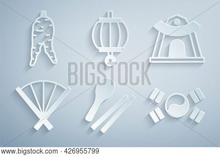 Set Food Chopsticks, Korean Temple, Traditional Fan, South Flag, Lantern And Ginseng Root Icon. Vect