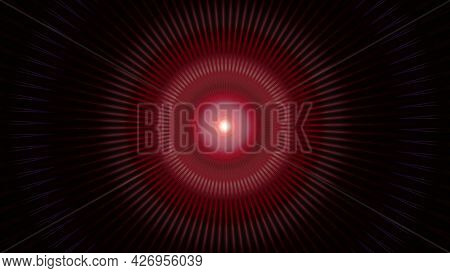 Abstract Luminous Pulsating Motion Of Red Rings On Black Background. Animation. Colorful Circular Tu