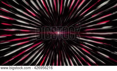 Pink And White Radial Spinning Motion Background, Seamless Loop. Animation. Glowing Point Surrounded