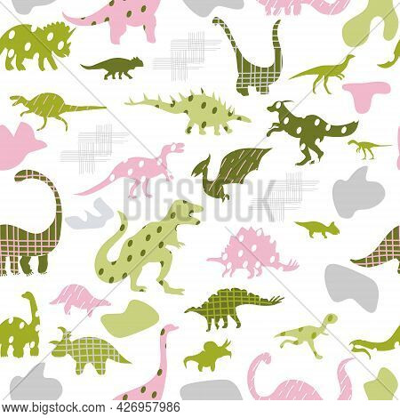 Seamless Pattern With Cute Silhouettes Baby Dinosaurs. Jurassic,mesozoic Reptiles With Different Pri