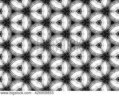 Symmetric Geometric Hexagon Black And White Textured Kaleidoscope Pattern. Seamless Abstract Ornamen