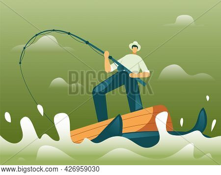 Fisherman Fishing On Boat Illustration Concept Vector