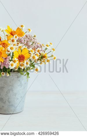 Beautiful Summer Flowers In A Vintage Pot On A White Background. Selective Focus. Place For Text.