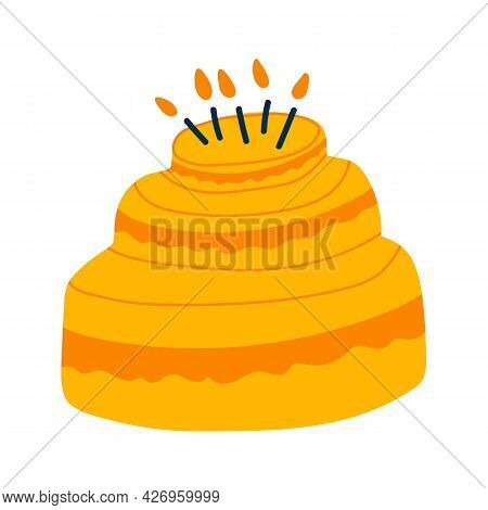 Vector Illustration Of Birthday Cake In Cartoon Flat Childish Style. Three-tiered Cake With Candles