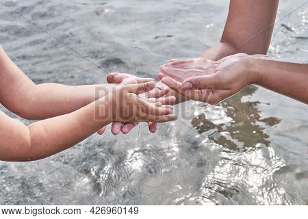 Mothers Hands Are Giving Carefully Into Hands Of Child A Small Transparent Jellyfish Over Water Back
