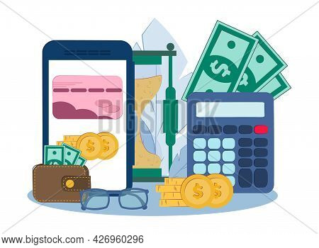 Online Lending Concept. The Bank Gives A Loan To The Internet. Vector Illustration Mobile Banking.