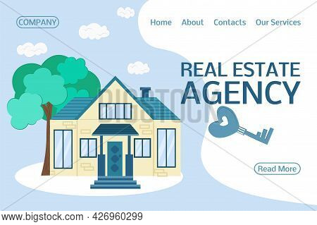Concept For The Sale, Purchase, Rent, Capital Investment Of Real Estate. Real Estate Agency Website.