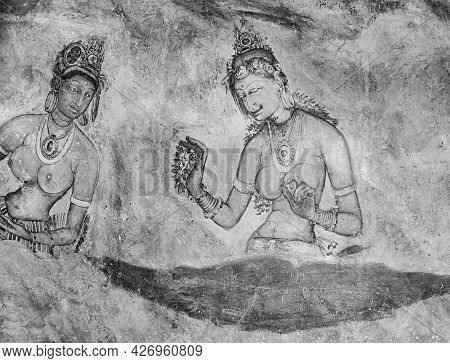 Sigiriya, Sri Lanka - August 9, 2005:  Sigiriya Maiden - 5th Century Frescoes At The Ancient Rock Fo
