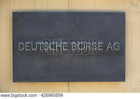 Frankfurt, Germany - June 13, 2021: Close-up Of Sign With Writing Deutsche Börse Ag At The Entrance