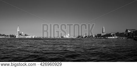 Venice, Italy - July 6, 2021: Panoramic View Of Venice With Canale Grande, San Marco Square  And Wor