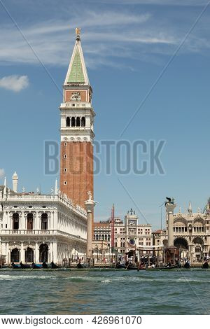 Venice, Italy - July 1, 2021: View To San Marco Square With Gondolas At Doge's Palace And The Promen